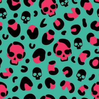 Skull leopard print camouflage leopard vector seamless pattern on green background leopard skin