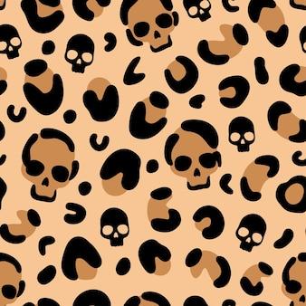 Череп с леопардовым принтом узор на хэллоуин текстура кожи леопарда