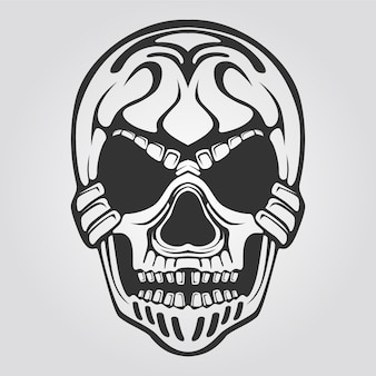 Skull line art black and white for tattoo