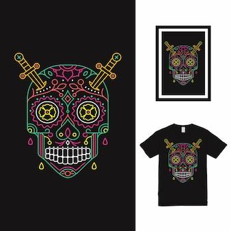 Дизайн футболки skull line art
