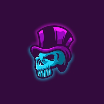 Skull logo on purple