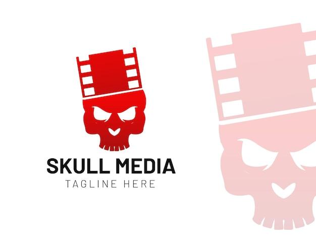 Skull logo with film reel modern gradient logo template