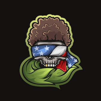 Skull logo with the flag of the united states