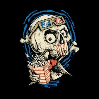 Skull love movie horror  illustration