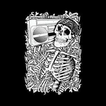 Skull love music horror bones  illustration