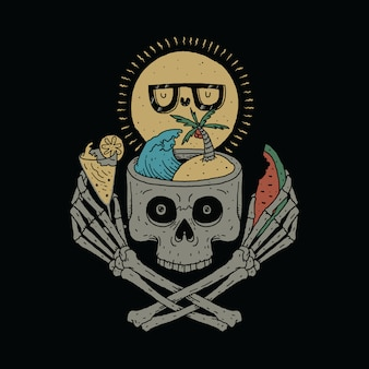 Skull love summer graphic illustration