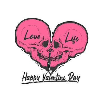 Skull love symbol love is life illustration vector