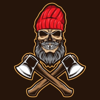 Skull lumberjack with axe