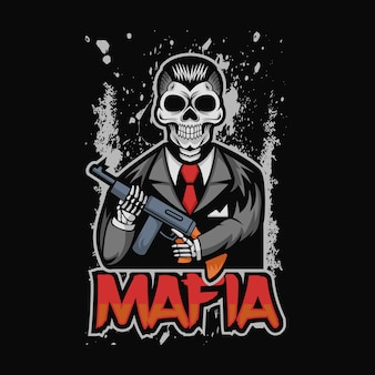 Skull mafia vector illustration