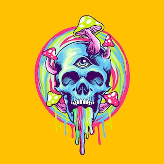 Skull and magic mushroom