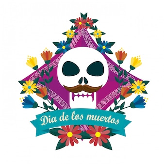 Skull man with flowers to day of the dead