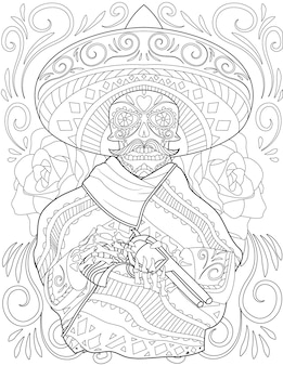 Skull mariachi drawing holding gun wearing big hat surrounded by beautiful roses. creepy mexican man line drawing owns a fire arm with large head dress.