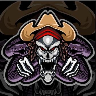 Skull mascot logo with snake