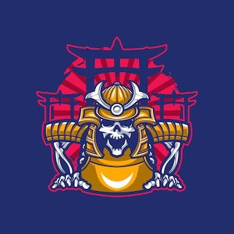 Skull mascot wearing samurai armor