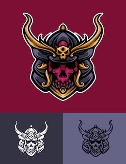 Skull mask samurai logo illustration