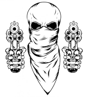 Skull in mask with two revolvers of illustration