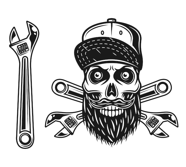 Skull of mechanic in baseball cap with visor up and adjustable wrench vector objects or design elements in monochrome style isolated on white