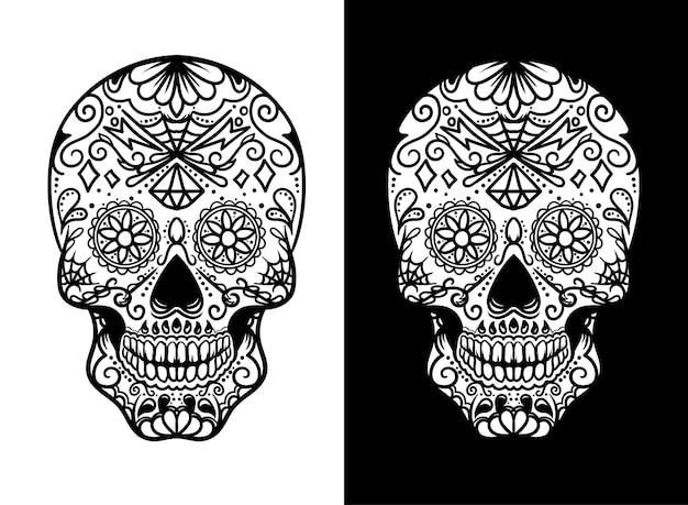 スカルメキシカン白黒イラストセット