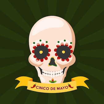 Skull of mexican culture, mexico cinco de mayo, illustration