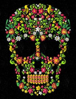 Skull mexican floral Premium Vector