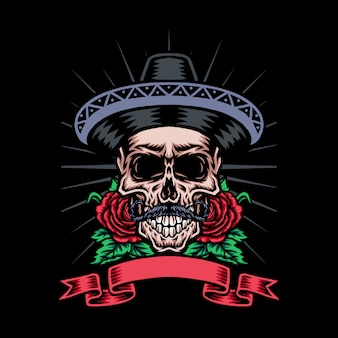 Skull in mexican hat with rose flower,