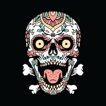 Skull mexican ornament  illustration  art t-shirt