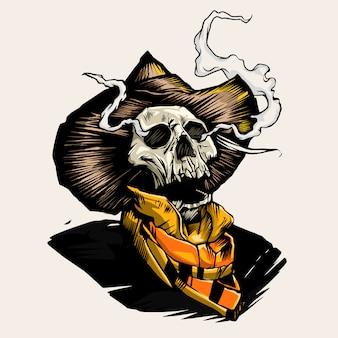 Skull in the mexican sombrero hat. illustration