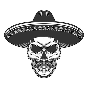 Skull in the mexican sombrero