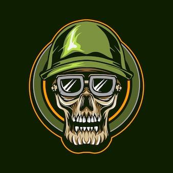 Skull military soldier   illustration design