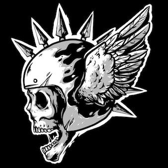 Skull mohawk helmet with wings white logo  mascot