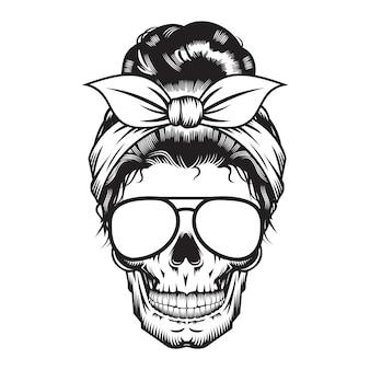 Дизайн головы мамы черепа на белом фоне. хэллоуин. череп головы логотипы или значки. векторные иллюстрации.