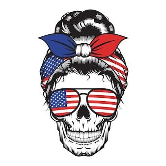 Череп мама сша оголовье америка дизайн на белом фоне. хэллоуин. череп головы логотипы или значки. векторные иллюстрации.