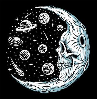 Skull moon horror illustration