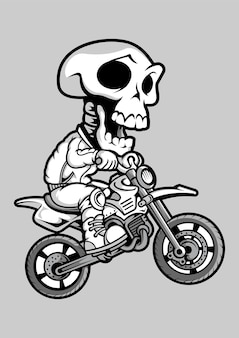 Skull motocrosser hand drawn illustration
