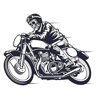 Skull motorcycle classic racer