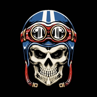 Skull motorcycle helmet illustration design