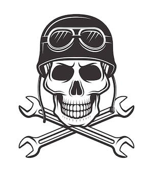 Skull in motorcycle helmet with goggles and two crossed wrenches  monochrome illustration  on white background