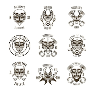 Skull motorcycle logo set