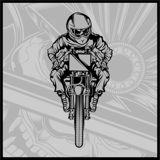 Skull motorcycle racing