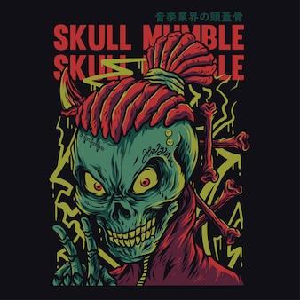 Skull mumble cartoon funny illustration