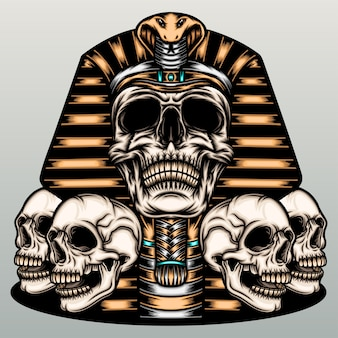 Skull mummy illustration.