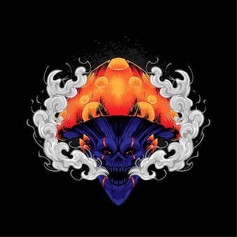 Skull mushroom illustration, perfect for t-shirt, apparel or merchandise design