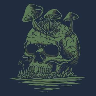 Skull mushrooms in river illustration