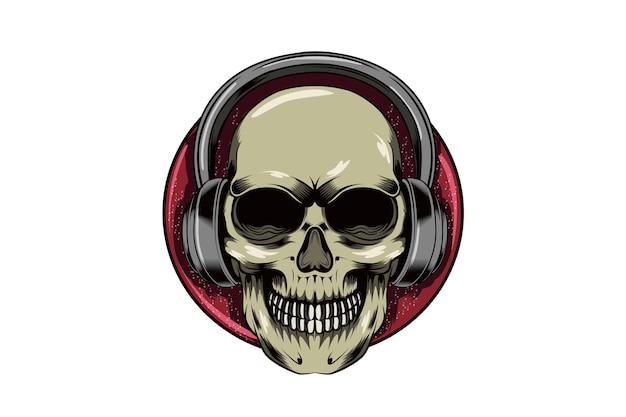 Skull music illustration vector