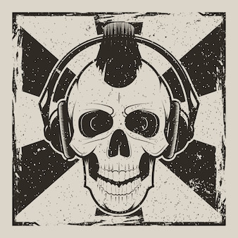 Skull music punk vintage grunge