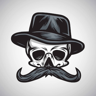 Skull mustache gentleman in hat