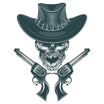 Skull of a mustached cowboy with pistols