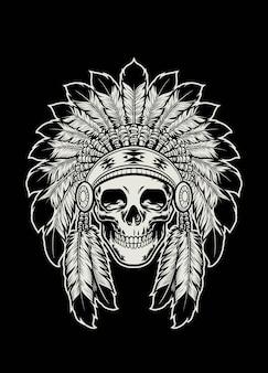 Skull of native american indian wearing headdress