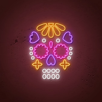 Skull neon sign. glowing neon design for day of the dead.