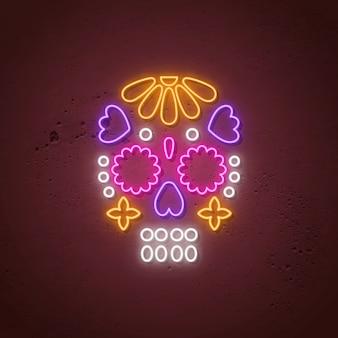 Неоновая вывеска черепа. светящийся неоновый дизайн для дня мертвых.
